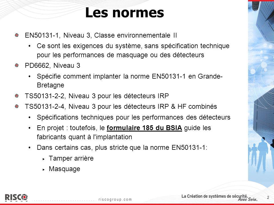 2 Les normes EN50131-1, Niveau 3, Classe environnementale II Ce sont les exigences du système, sans spécification technique pour les performances de m