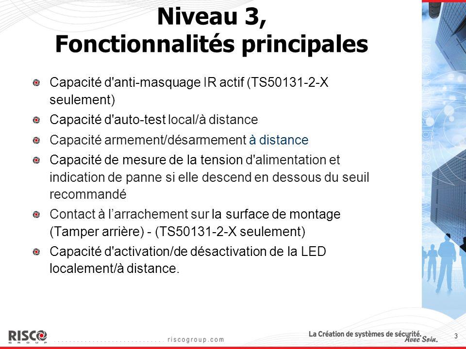 3 Niveau 3, Fonctionnalités principales Capacité d'anti-masquage IR actif (TS50131-2-X seulement) Capacité d'auto-test local/à distance Capacité armem