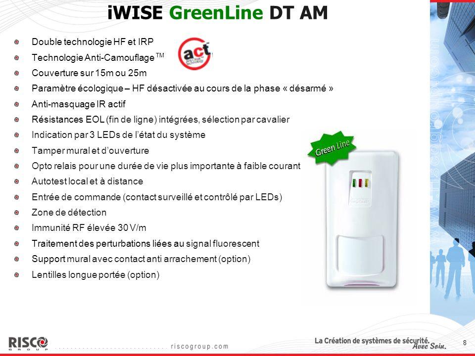 19 iWISE Green Line DT AM versus Honeywell Intellisense/C&K DT7550C UK iWISE Green Line DTAMIntellisense DT7550C UK NormesPD6662, EN50131-1, TS50131-2-4 Grade 3PD6662, EN50131-1 Grade 3 Méthode AMIR actifLogique HF + PIR La zone d apparence est bloquée pour un AM amélioré (autrement un cambrioleur pourrait masquer les lentilles et réinitialiser le masquage en marchant dans la zone de détection - un problème dans l utilisation du HF pour AM) ACTOuiNon Résistances EOLIntégréesNon Fonctionnalité GreenLine OuiOui (Inhibition du HF au cours de l opération de désarmement) Tamper muralOuiNon Couverture15m, 25m12m, 18m Ouverture du capotVerrouillage par visSystème d ouverture par levier à l aide d un stylo.