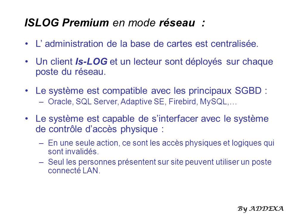 ISLOG Premium en mode réseau : L administration de la base de cartes est centralisée. Un client Is-LOG et un lecteur sont déployés sur chaque poste du