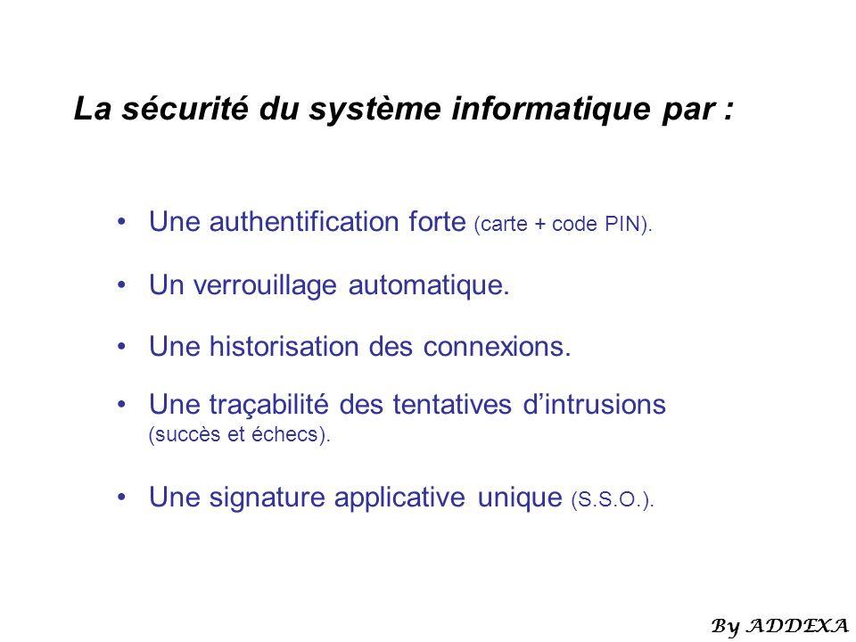 La sécurité du système informatique par : Une authentification forte (carte + code PIN). Un verrouillage automatique. Une historisation des connexions
