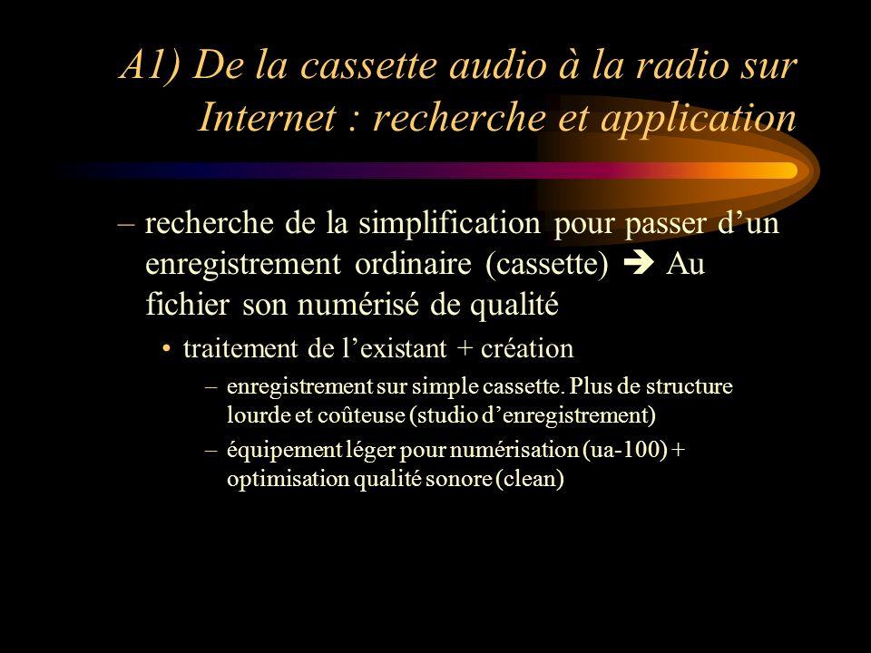 A1) De la cassette audio à la radio sur Internet : recherche et application –recherche de la simplification pour passer dun enregistrement ordinaire (