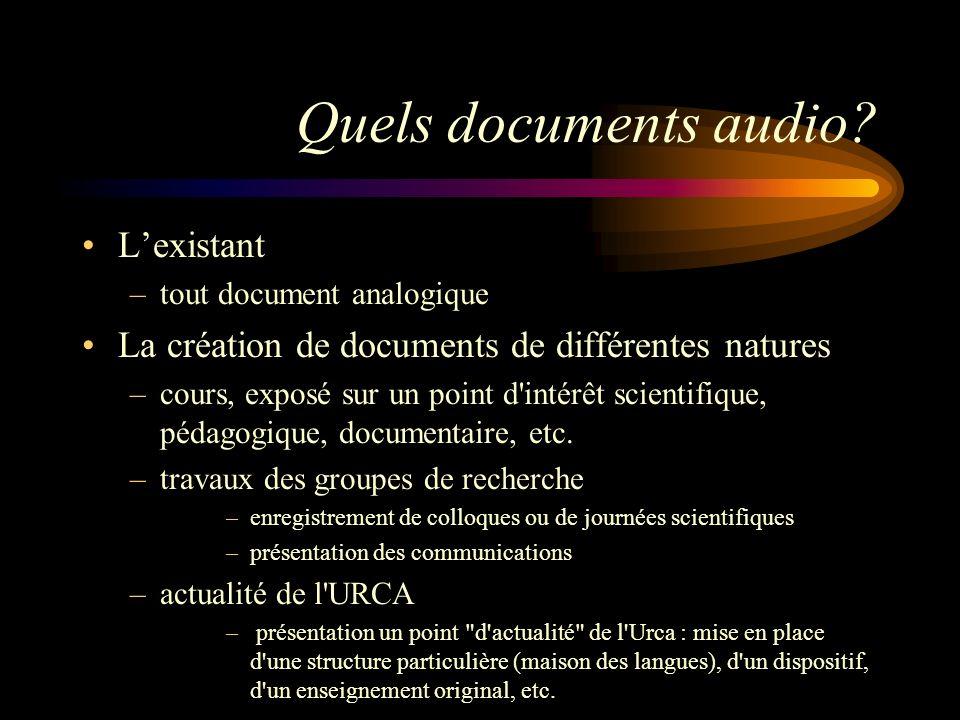 Quels documents audio? Lexistant –tout document analogique La création de documents de différentes natures –cours, exposé sur un point d'intérêt scien
