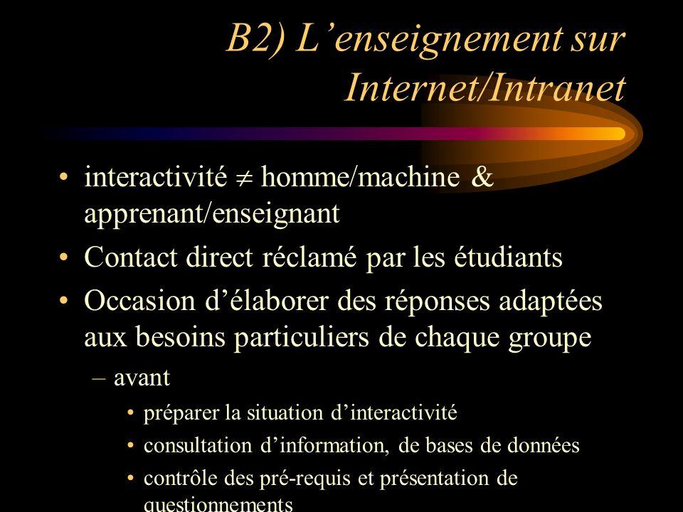 B2) Lenseignement sur Internet/Intranet interactivité homme/machine & apprenant/enseignant Contact direct réclamé par les étudiants Occasion délaborer