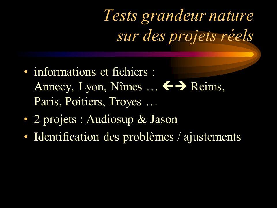 Tests grandeur nature sur des projets réels informations et fichiers : Annecy, Lyon, Nîmes … Reims, Paris, Poitiers, Troyes … 2 projets : Audiosup & J