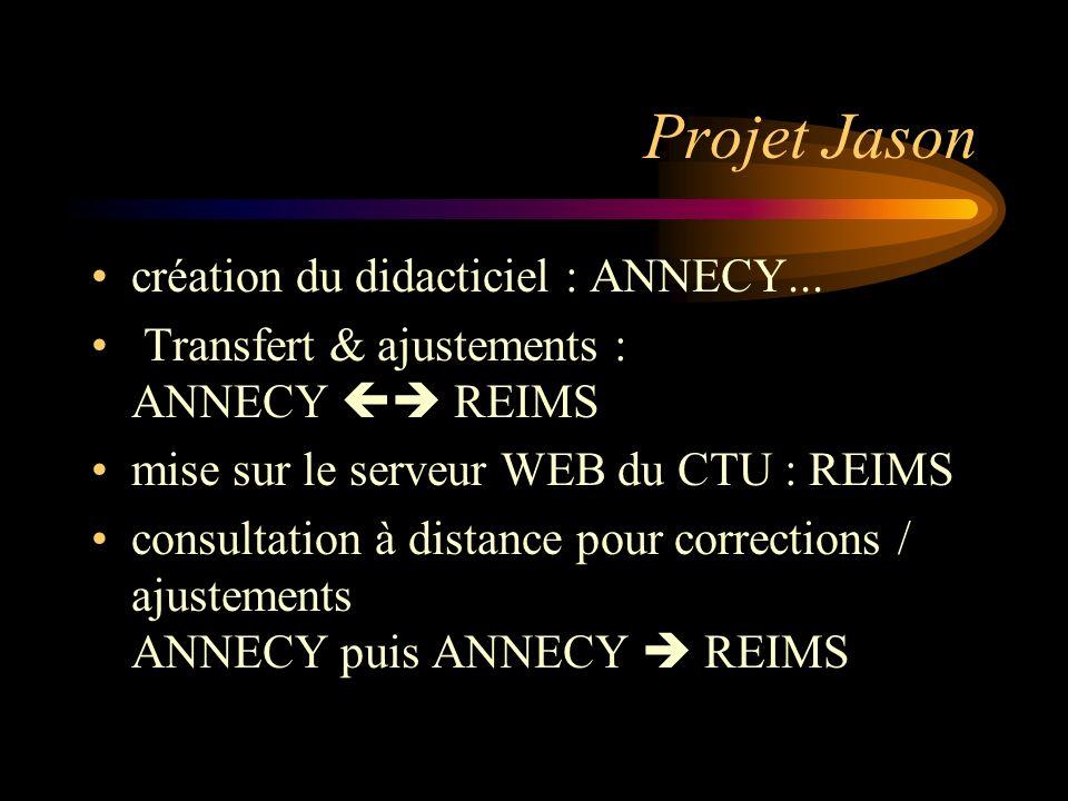 Projet Jason création du didacticiel : ANNECY... Transfert & ajustements : ANNECY REIMS mise sur le serveur WEB du CTU : REIMS consultation à distance