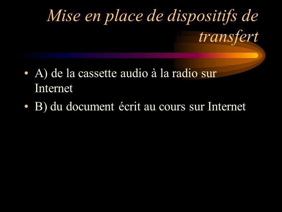 Mise en place de dispositifs de transfert A) de la cassette audio à la radio sur Internet B) du document écrit au cours sur Internet