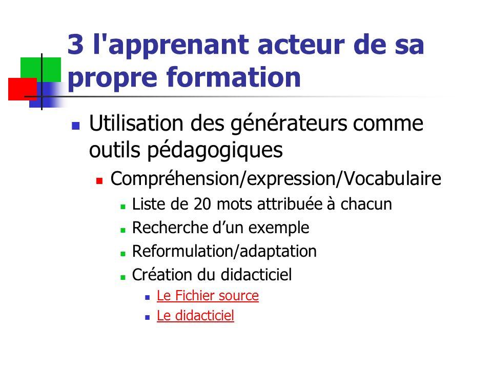 3 l'apprenant acteur de sa propre formation Utilisation des générateurs comme outils pédagogiques Compréhension/expression/Vocabulaire Liste de 20 mot