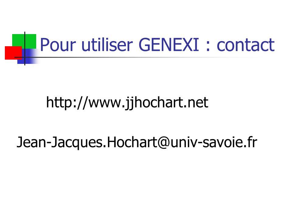 Pour utiliser GENEXI : contact http://www.jjhochart.net Jean-Jacques.Hochart@univ-savoie.fr