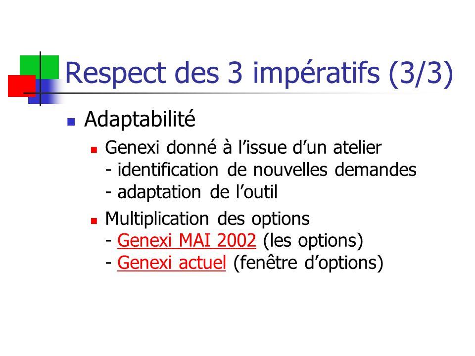 Respect des 3 impératifs (3/3) Adaptabilité Genexi donné à lissue dun atelier - identification de nouvelles demandes - adaptation de loutil Multiplica