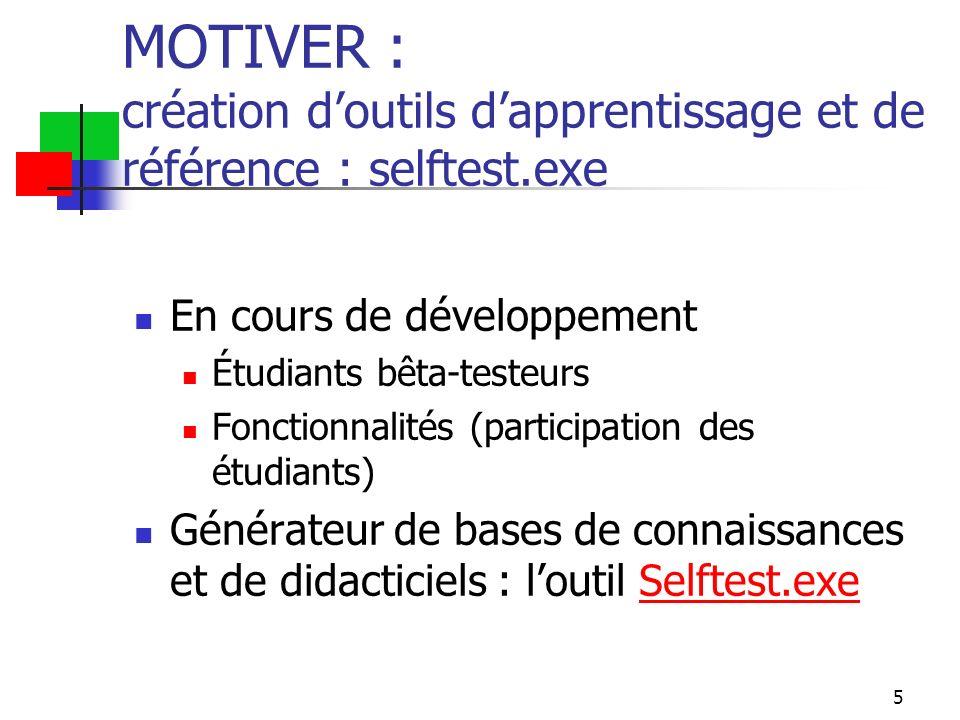 5 MOTIVER : création doutils dapprentissage et de référence : selftest.exe En cours de développement Étudiants bêta-testeurs Fonctionnalités (participation des étudiants) Générateur de bases de connaissances et de didacticiels : loutil Selftest.exeSelftest.exe