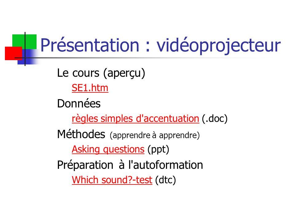 Présentation : vidéoprojecteur Le cours (aperçu) SE1.htm Données règles simples d'accentuationrègles simples d'accentuation (.doc) Méthodes (apprendre
