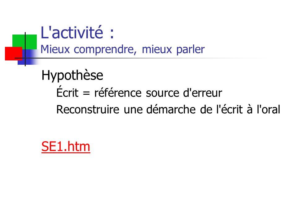 L activité : Mieux comprendre, mieux parler Hypothèse Écrit = référence source d erreur Reconstruire une démarche de l écrit à l oral SE1.htm