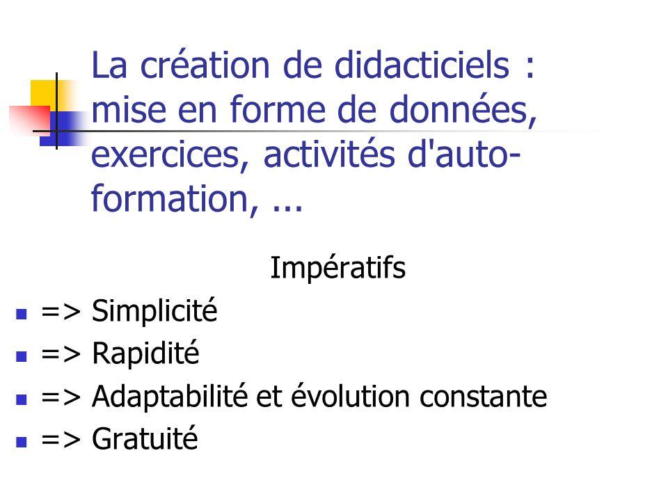 La création de didacticiels : mise en forme de données, exercices, activités d auto- formation,...