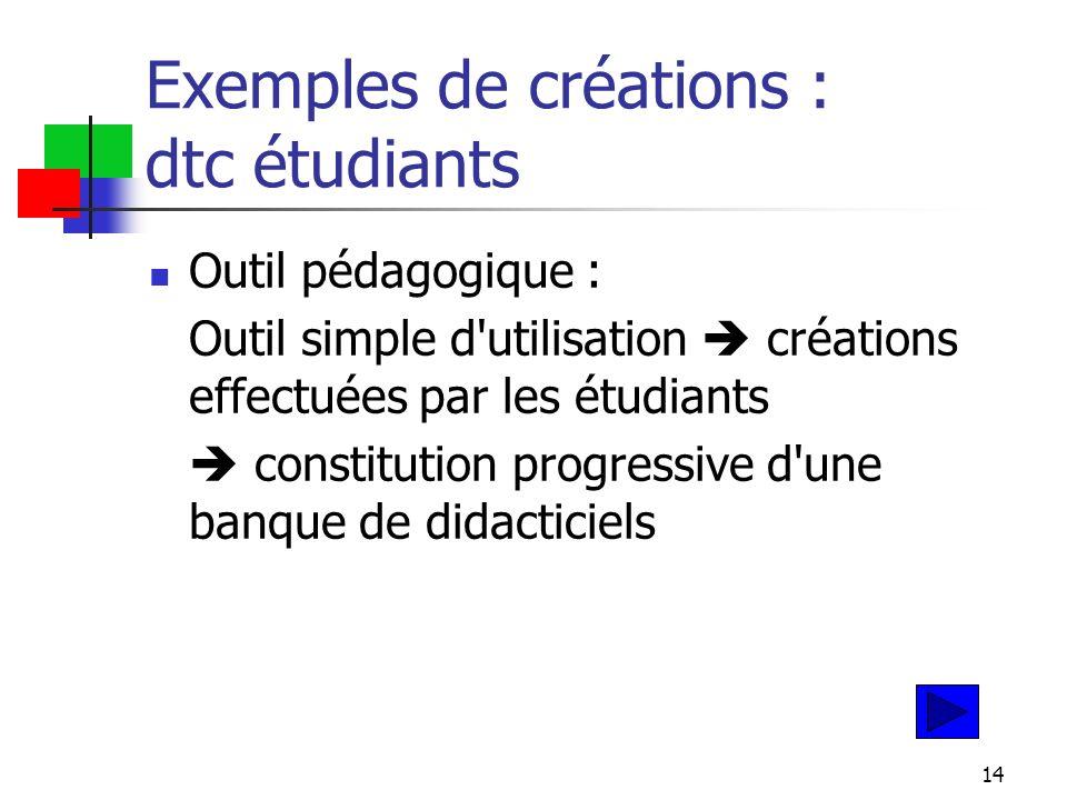 14 Exemples de créations : dtc étudiants Outil pédagogique : Outil simple d utilisation créations effectuées par les étudiants constitution progressive d une banque de didacticiels