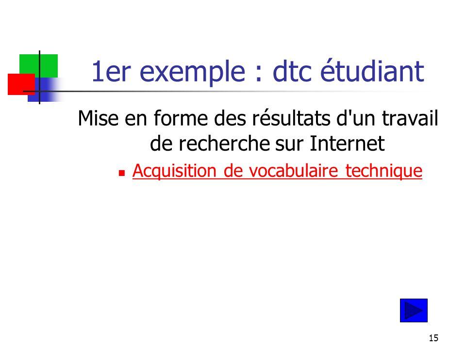 15 1er exemple : dtc étudiant Mise en forme des résultats d un travail de recherche sur Internet Acquisition de vocabulaire technique