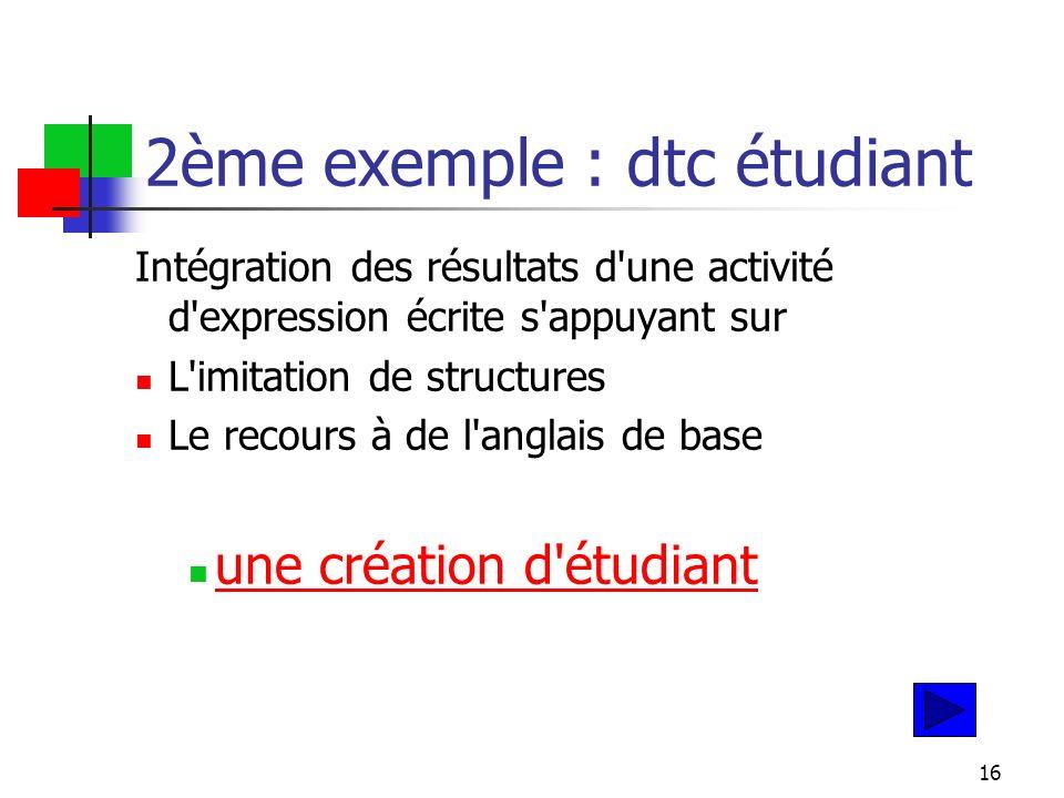 16 2ème exemple : dtc étudiant Intégration des résultats d une activité d expression écrite s appuyant sur L imitation de structures Le recours à de l anglais de base une création d étudiant
