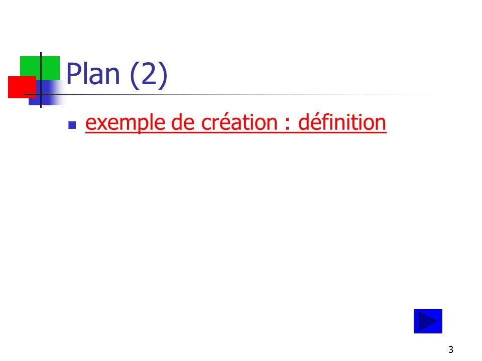 3 Plan (2) exemple de création : définition