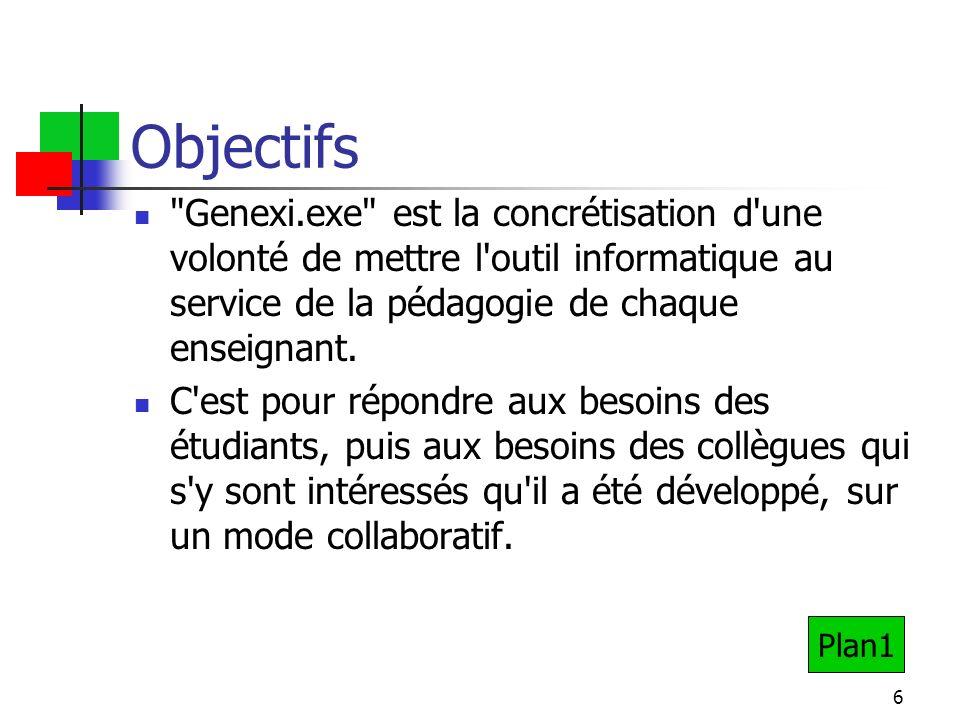 6 Objectifs Genexi.exe est la concrétisation d une volonté de mettre l outil informatique au service de la pédagogie de chaque enseignant.