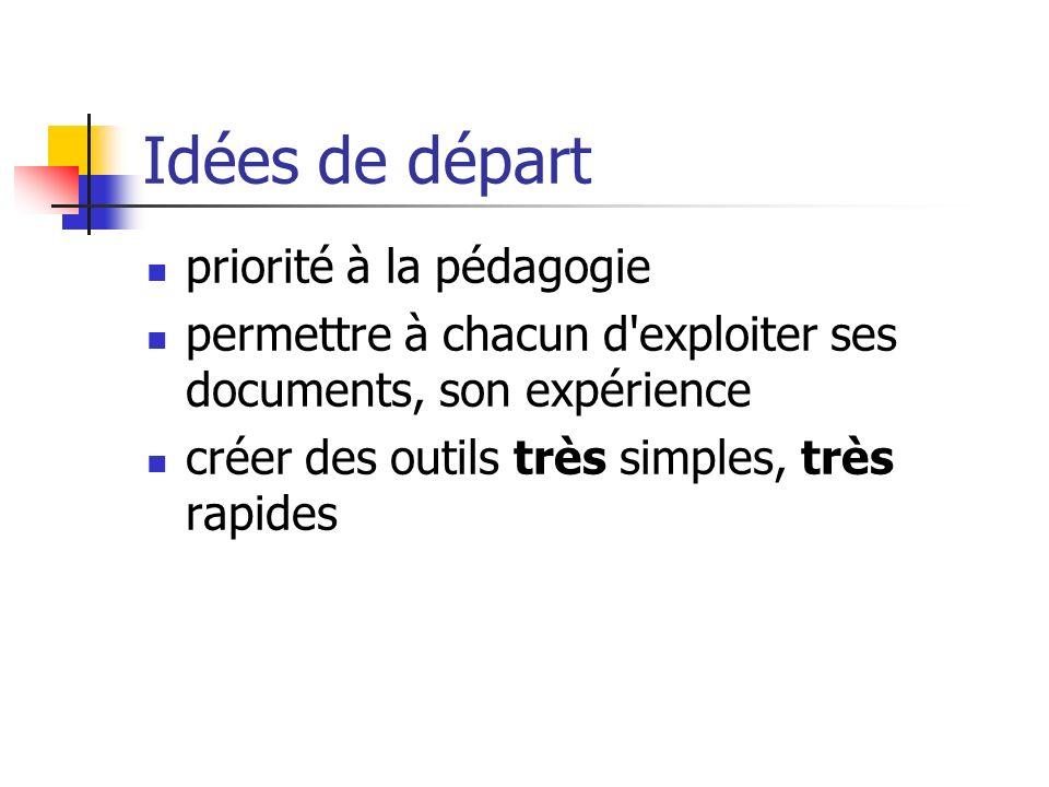 Idées de départ priorité à la pédagogie permettre à chacun d'exploiter ses documents, son expérience créer des outils très simples, très rapides