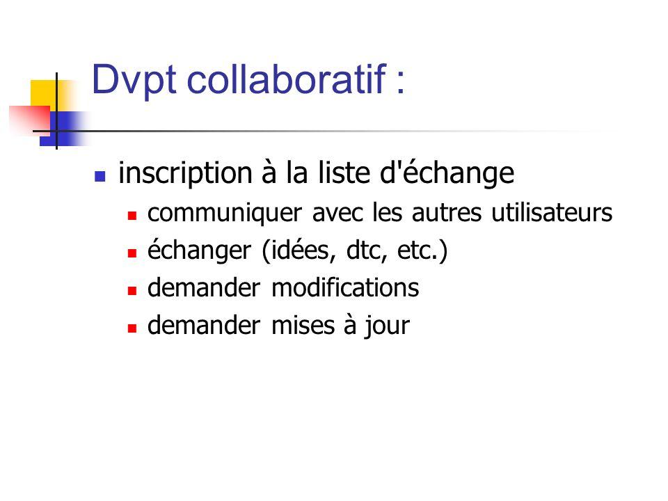 Dvpt collaboratif : inscription à la liste d'échange communiquer avec les autres utilisateurs échanger (idées, dtc, etc.) demander modifications deman