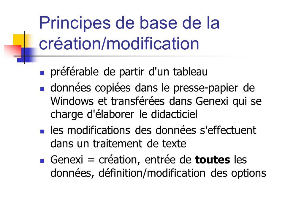 Principes de base de la création/modification préférable de partir d'un tableau données copiées dans le presse-papier de Windows et transférées dans G