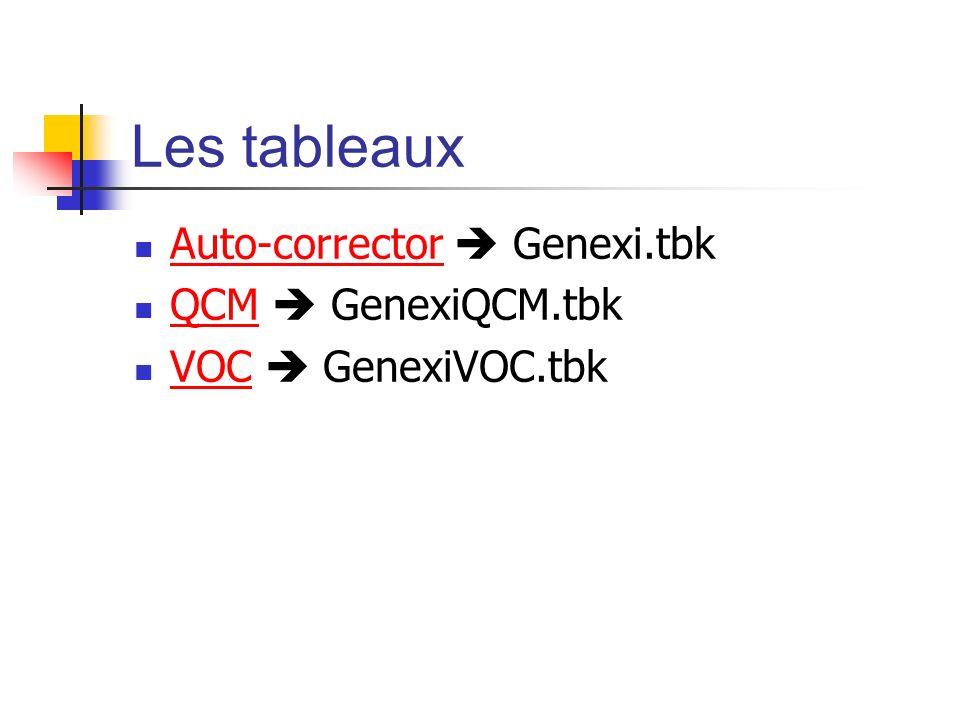 Les tableaux Auto-corrector Genexi.tbk Auto-corrector QCM GenexiQCM.tbk QCM VOC GenexiVOC.tbk VOC