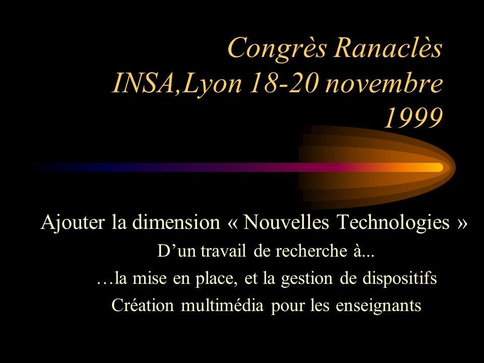 Congrès Ranaclès INSA,Lyon 18-20 novembre 1999 Ajouter la dimension « Nouvelles Technologies » Dun travail de recherche à...