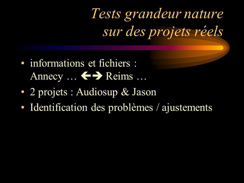 Tests grandeur nature sur des projets réels informations et fichiers : Annecy … Reims … 2 projets : Audiosup & Jason Identification des problèmes / ajustements