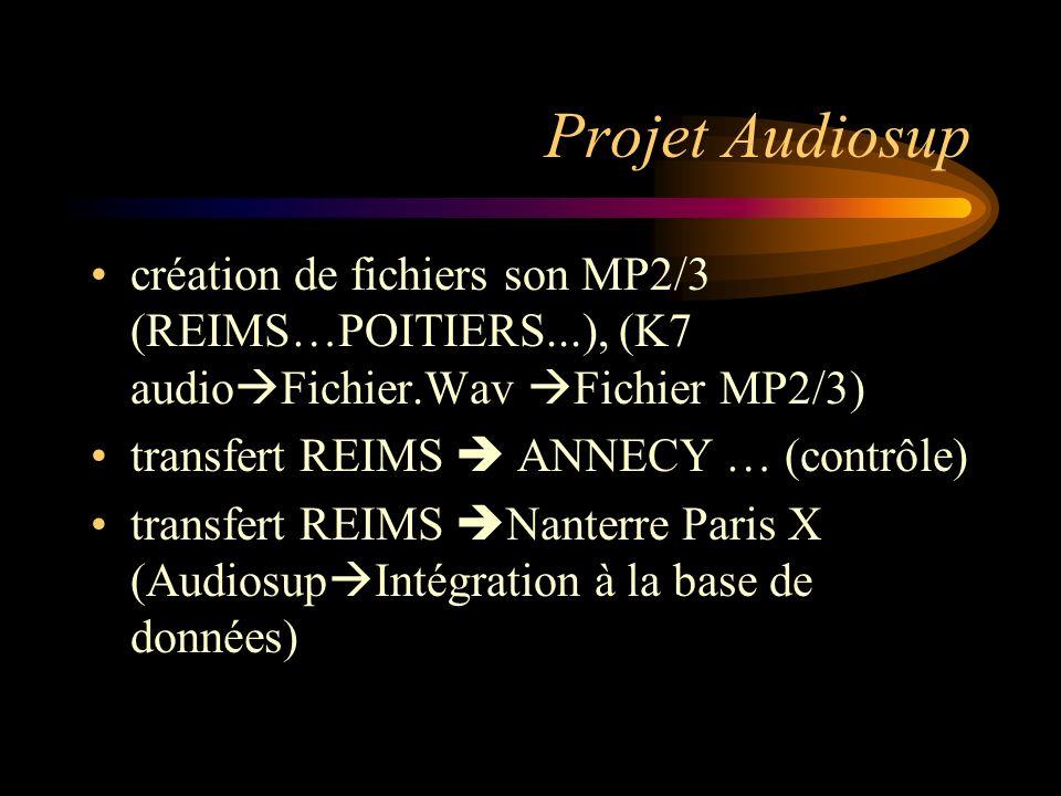 Projet Audiosup création de fichiers son MP2/3 (REIMS…POITIERS...), (K7 audio Fichier.Wav Fichier MP2/3) transfert REIMS ANNECY … (contrôle) transfert REIMS Nanterre Paris X (Audiosup Intégration à la base de données)
