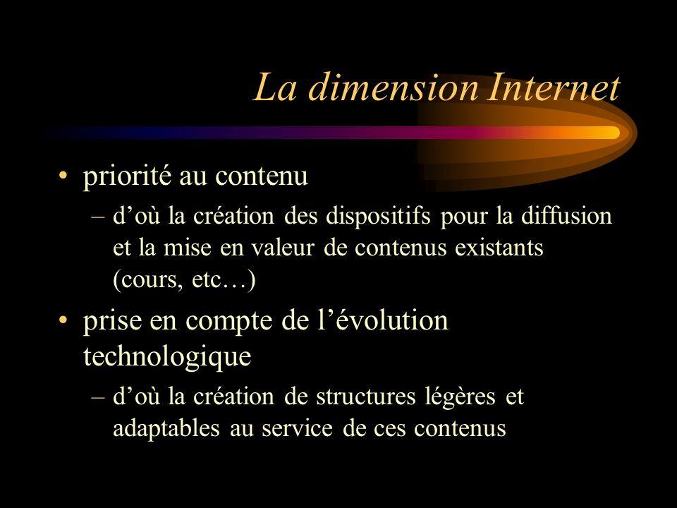 La dimension Internet priorité au contenu –doù la création des dispositifs pour la diffusion et la mise en valeur de contenus existants (cours, etc…) prise en compte de lévolution technologique –doù la création de structures légères et adaptables au service de ces contenus