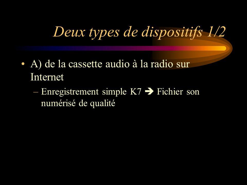 Deux types de dispositifs 1/2 A) de la cassette audio à la radio sur Internet –Enregistrement simple K7 Fichier son numérisé de qualité