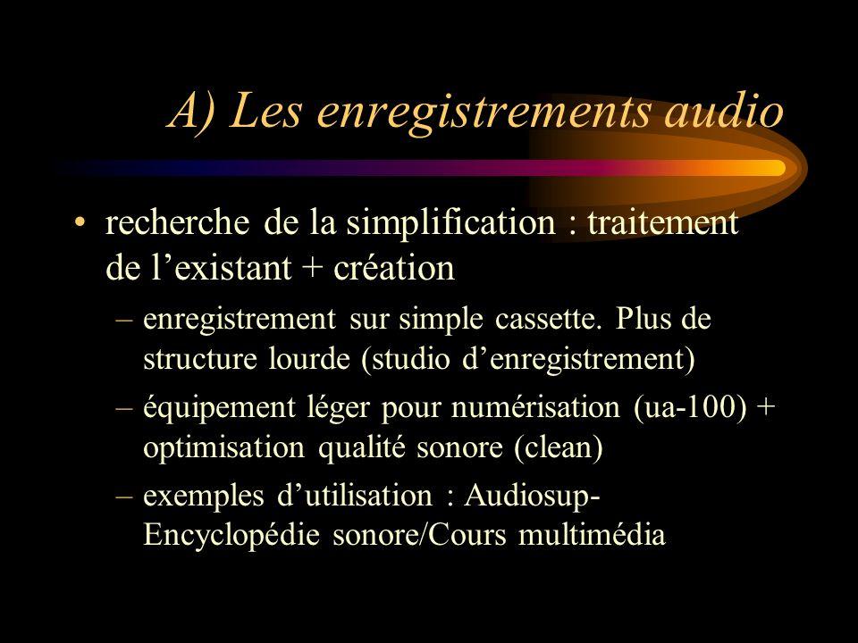 A) Les enregistrements audio recherche de la simplification : traitement de lexistant + création –enregistrement sur simple cassette.