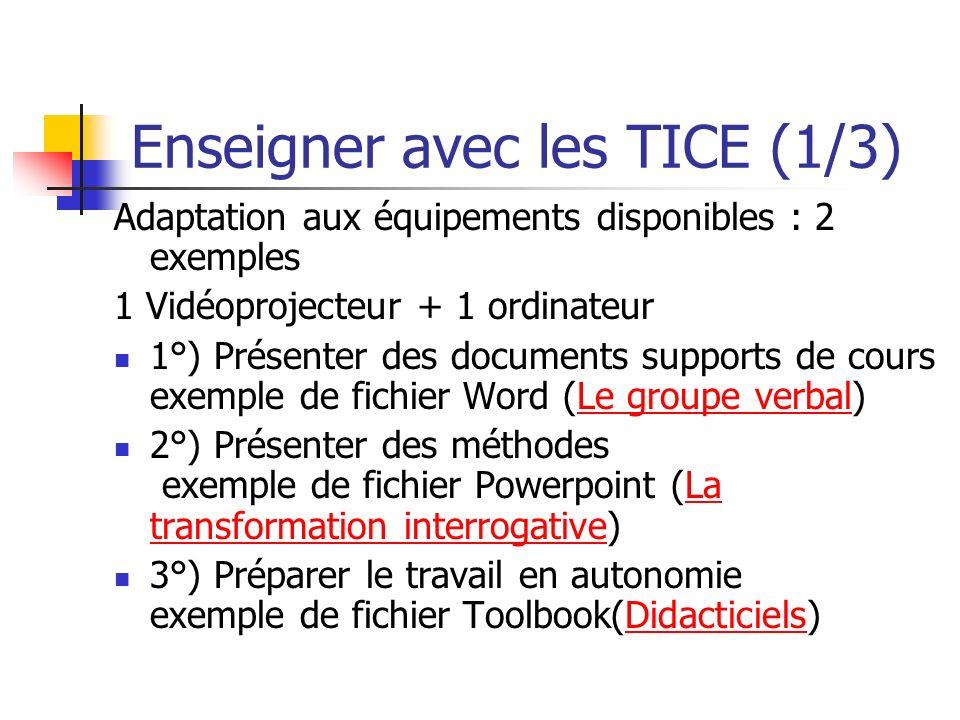 Enseigner avec les TICE (2/3) 1 vidéoprojecteur + Salle équipée dordinateurs Un exemple concretexemple concret