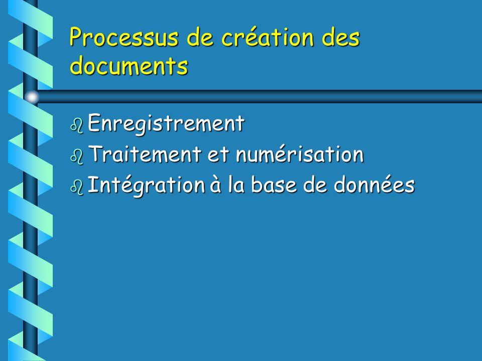 Processus de création des documents b Enregistrement b Traitement et numérisation b Intégration à la base de données