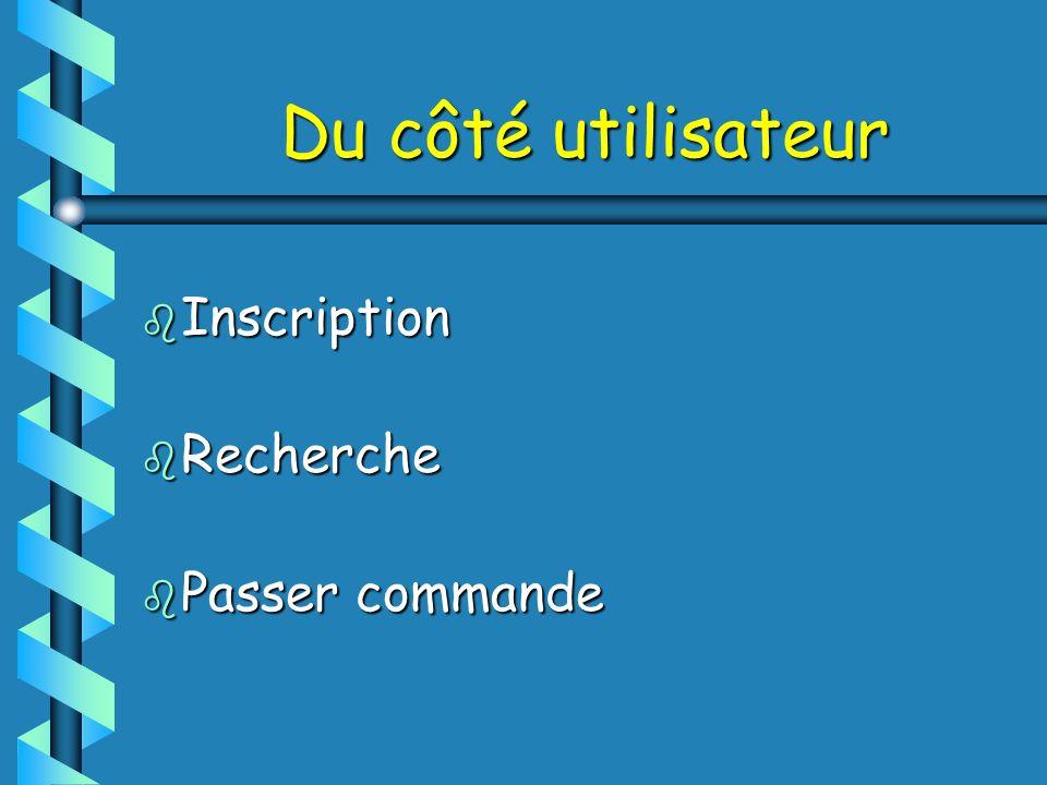 Du côté utilisateur b Inscription b Recherche b Passer commande