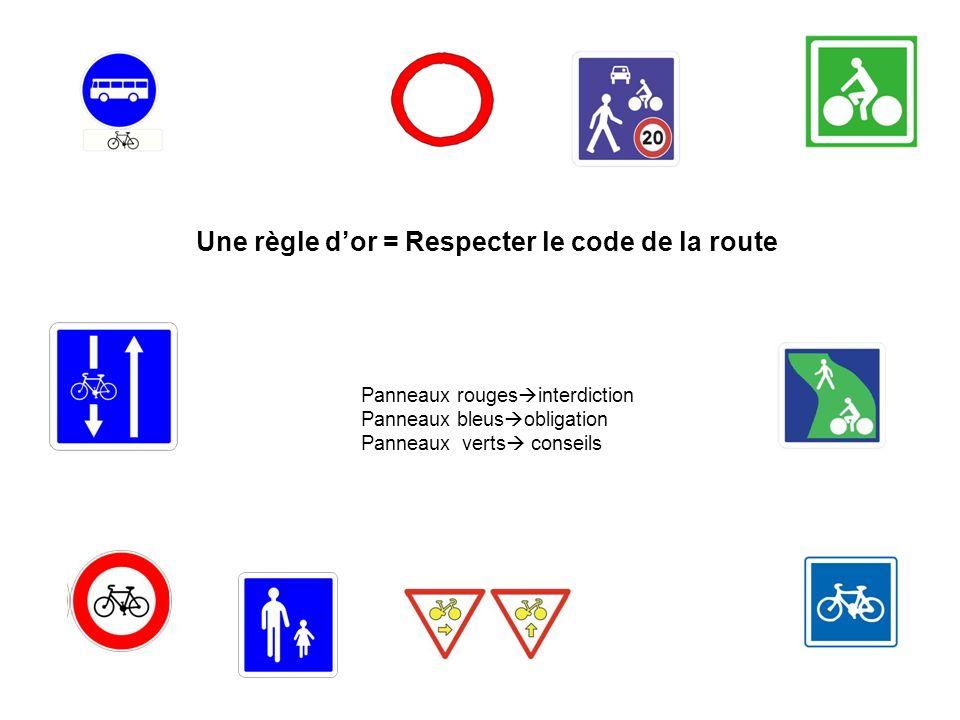 Une règle dor = Respecter le code de la route Panneaux rouges interdiction Panneaux bleus obligation Panneaux verts conseils