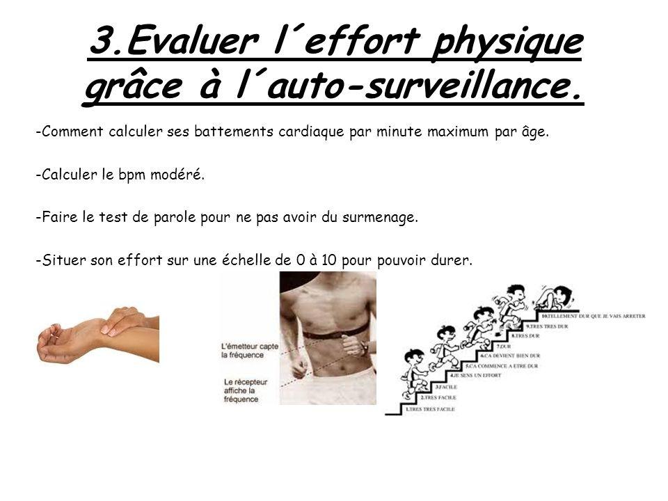 3.Evaluer l´effort physique grâce à l´auto-surveillance. -Comment calculer ses battements cardiaque par minute maximum par âge. -Calculer le bpm modér