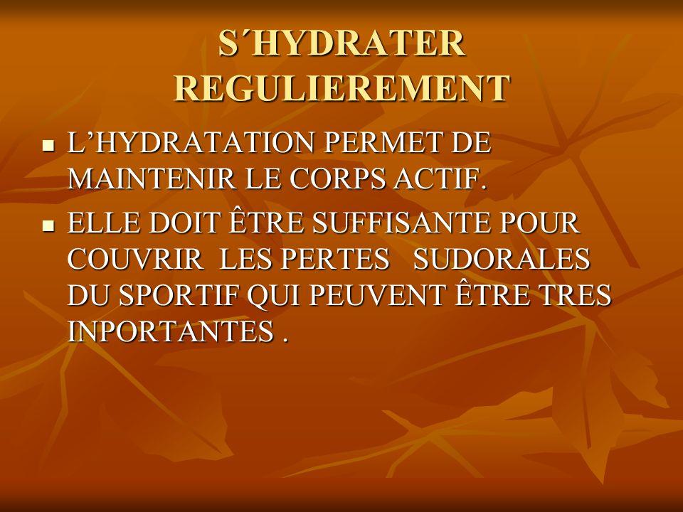 S´HYDRATER REGULIEREMENT LHYDRATATION PERMET DE MAINTENIR LE CORPS ACTIF. LHYDRATATION PERMET DE MAINTENIR LE CORPS ACTIF. ELLE DOIT ÊTRE SUFFISANTE P