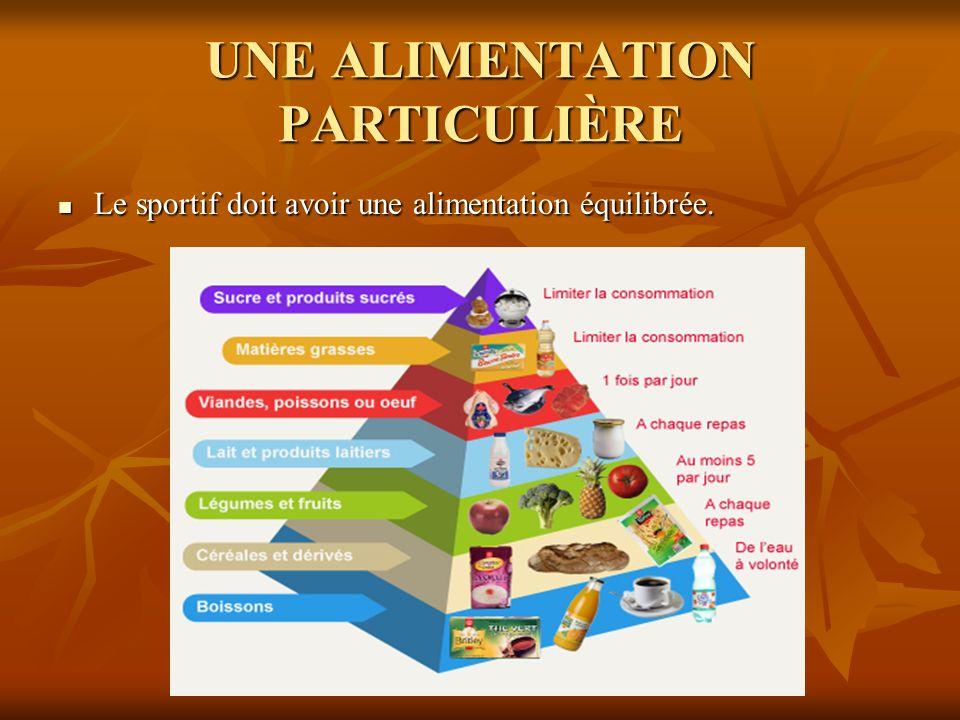 UNE ALIMENTATION PARTICULIÈRE Le sportif doit avoir une alimentation équilibrée. Le sportif doit avoir une alimentation équilibrée.