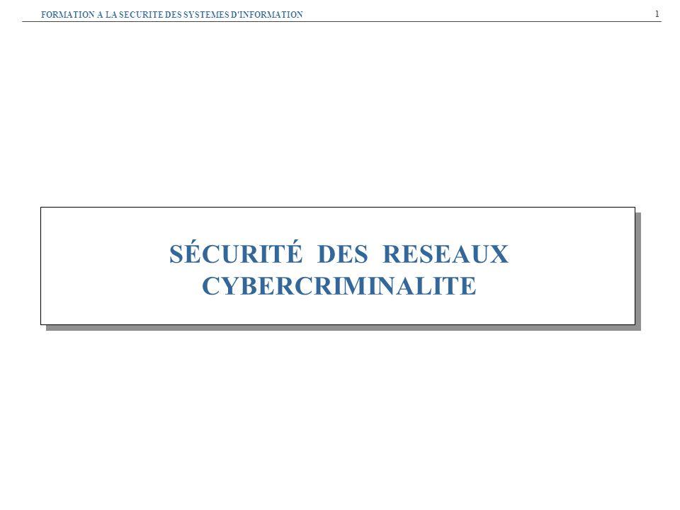 1 SÉCURITÉ DES RESEAUX CYBERCRIMINALITE FORMATION A LA SECURITE DES SYSTEMES D INFORMATION