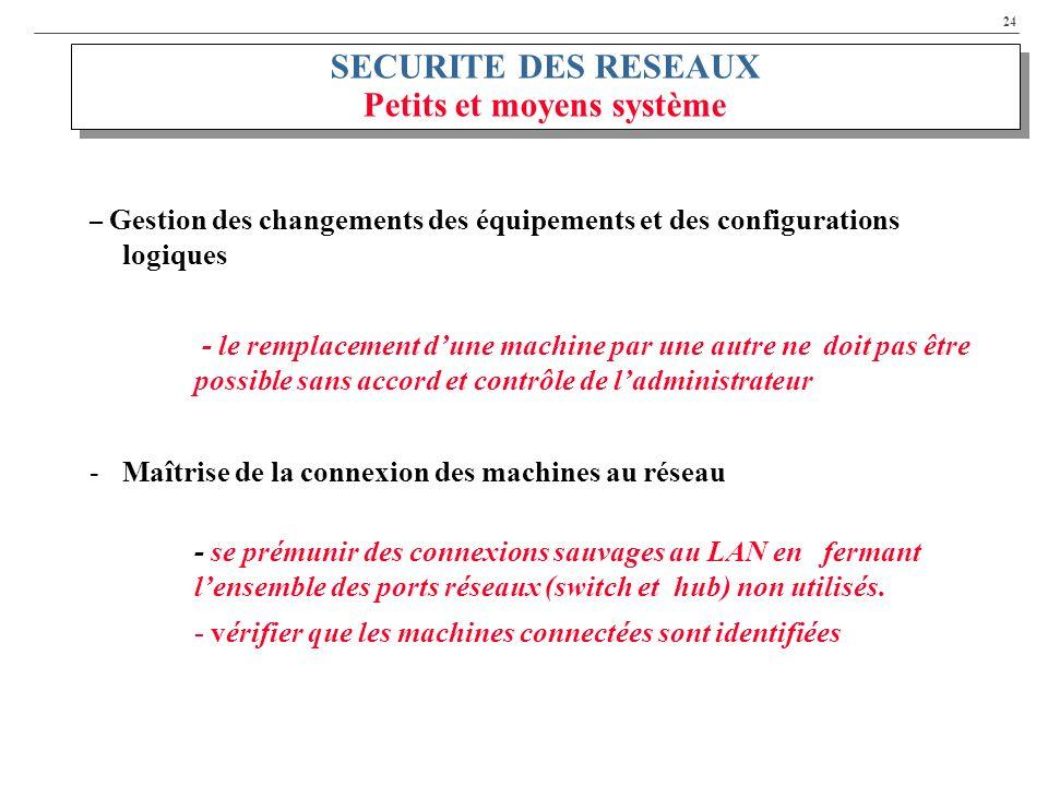 24 SECURITE DES RESEAUX Petits et moyens système – Gestion des changements des équipements et des configurations logiques - le remplacement dune machi