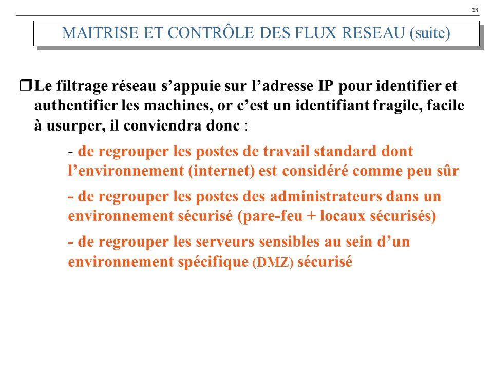 28 MAITRISE ET CONTRÔLE DES FLUX RESEAU (suite) Le filtrage réseau sappuie sur ladresse IP pour identifier et authentifier les machines, or cest un id