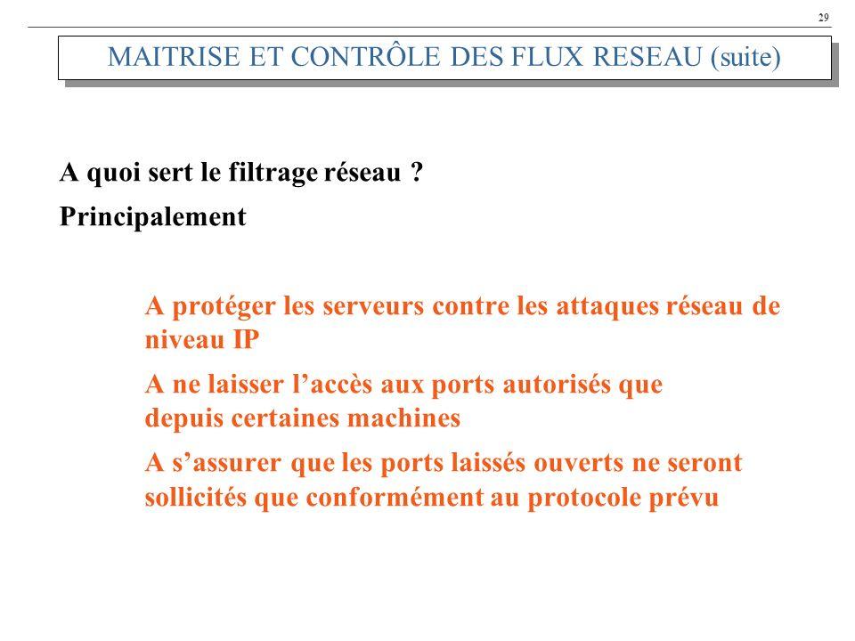 29 MAITRISE ET CONTRÔLE DES FLUX RESEAU (suite) A quoi sert le filtrage réseau ? Principalement A protéger les serveurs contre les attaques réseau de