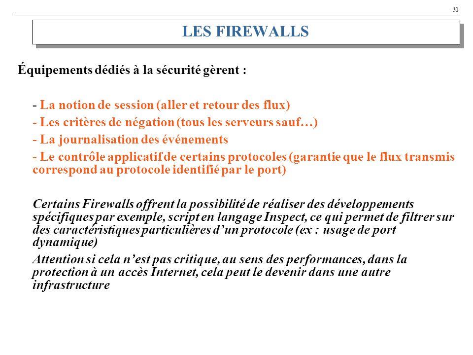 31 LES FIREWALLS Équipements dédiés à la sécurité gèrent : - La notion de session (aller et retour des flux) - Les critères de négation (tous les serveurs sauf…) - La journalisation des événements - Le contrôle applicatif de certains protocoles (garantie que le flux transmis correspond au protocole identifié par le port) Certains Firewalls offrent la possibilité de réaliser des développements spécifiques par exemple, script en langage Inspect, ce qui permet de filtrer sur des caractéristiques particulières dun protocole (ex : usage de port dynamique) Attention si cela nest pas critique, au sens des performances, dans la protection à un accès Internet, cela peut le devenir dans une autre infrastructure