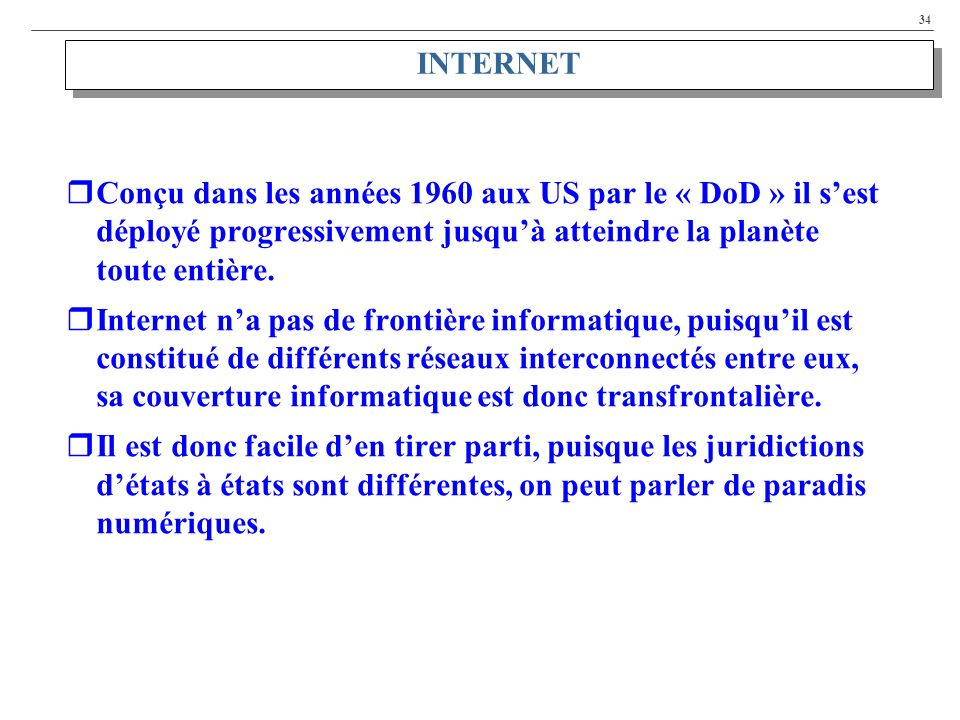 34 INTERNET Conçu dans les années 1960 aux US par le « DoD » il sest déployé progressivement jusquà atteindre la planète toute entière. Internet na pa