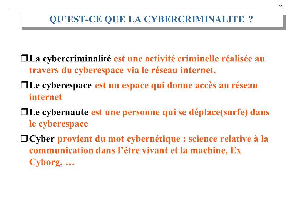 36 QUEST-CE QUE LA CYBERCRIMINALITE ? La cybercriminalité est une activité criminelle réalisée au travers du cyberespace via le réseau internet. Le cy
