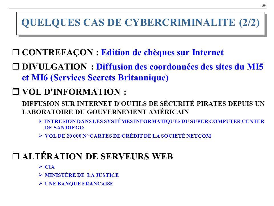 39 CONTREFAÇON : Edition de chèques sur Internet DIVULGATION : Diffusion des coordonnées des sites du MI5 et MI6 (Services Secrets Britannique) VOL D INFORMATION : DIFFUSION SUR INTERNET D OUTILS DE SÉCURITÉ PIRATES DEPUIS UN LABORATOIRE DU GOUVERNEMENT AMÉRICAIN INTRUSION DANS LES SYSTÈMES INFORMATIQUES DU SUPER COMPUTER CENTER DE SAN DIEGO VOL DE 20 000 N° CARTES DE CRÉDIT DE LA SOCIÉTÉ NETCOM ALTÉRATION DE SERVEURS WEB CIA MINISTÈRE DE LA JUSTICE UNE BANQUE FRANCAISE QUELQUES CAS DE CYBERCRIMINALITE (2/2)