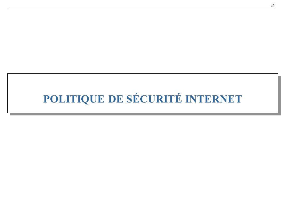 40 POLITIQUE DE SÉCURITÉ INTERNET