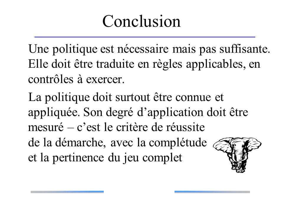 Conclusion Une politique est nécessaire mais pas suffisante. Elle doit être traduite en règles applicables, en contrôles à exercer. La politique doit